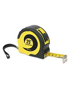 """Easy Grip Tape Measure, 25 Ft, Plastic Case, Black And Yellow, 1/16"""" Graduations"""