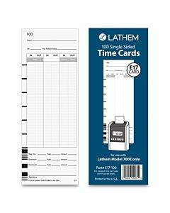 """E17-100 Time Card, Bi-weekly/monthly/semi-monthly/weekly, One Side, 9"""", 100/pack"""