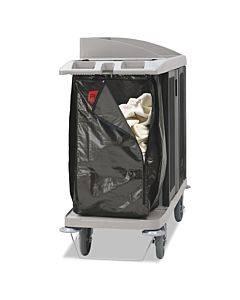 "Zippered Vinyl Cleaning Cart Bag, 25 Gal, 17"" X 33"", Brown"