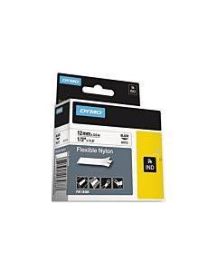"Rhino Flexible Nylon Industrial Label Tape, 1/2"" X 11 1/2 Ft, White/black Print"