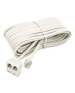 Telephone Extension Cord, Plug/dual Jack, 25 Ft., Almond