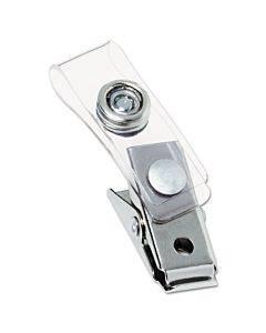 """Badge Clips W/plastic Straps, 0.5"""" X 1.5"""", Silver, 100/box"""