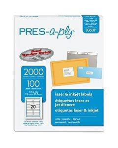"""Pres-a-ply White Labels, 1"""" X 4"""" , Permanent-adhesive, 20-up, 2000 Labels"""