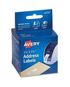 """Avery® Thermal Roll Labels, 1-1/8"""" X 3-1/2"""" , 260 White Labels (4150)"""