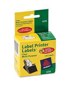 """Avery® Thermal Roll Labels, 1-1/8"""" X 3-1/2"""" , 120 Clear Labels (4151)"""