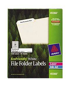"""Avery® Ecofriendly File Folder Labels, Permanent Adhesive, 2/3"""" X 3-7/16"""" , 1,500 Labels"""