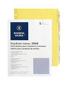 Business Source Buff Stock Ring Binder Indexes