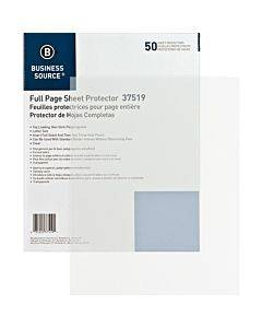 Business Source Full Sheet Top Load Poly Sheet Protectors
