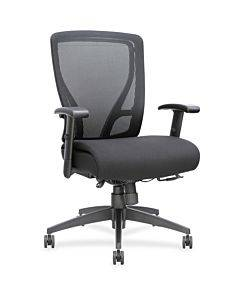 Lorell Fabric Seat Mesh Mid-back Chair