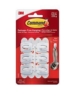 Command Mini White Hooks With White Strips