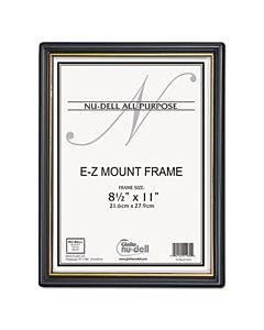 Ez Mount Document Frame With Trim Accent, Plastic Face , 8.5 X 11, Black/gold