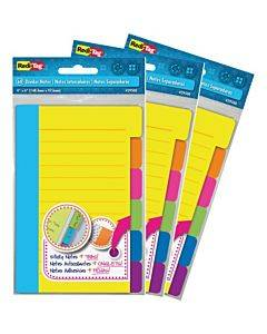 Redi-tag Assorted Tab Ruled Sticky Notes