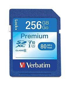 Verbatim 256gb Premium Sdxc Memory Card, Uhs-i V10 U1 Class 10