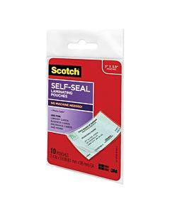 """Self-sealing Laminating Pouches, 9 Mil, 3.8"""" X 2.4"""", Gloss Clear, 10/pack"""