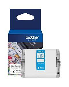 """Brother Genuine Cz-1005 Continuous Length ~ 2 (1.97"""") 50 Mm Wide X 16.4 Ft. (5 M) Long Label Roll Featuring Zink® Zero Ink Technology"""