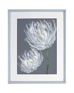 Lorell White Flower Design Framed Abstract Art