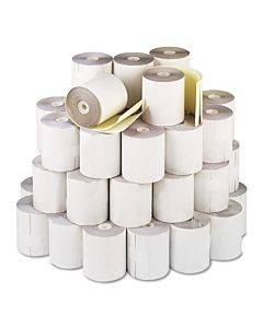 """Impact Printing Carbonless Paper Rolls, 3"""" X 90 Ft, White/canary, 50/carton"""