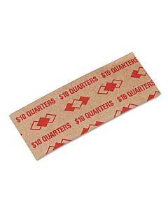 Tubular Coin Wrappers, Quarters, $10, Pop-open Wrappers, 1000/pack