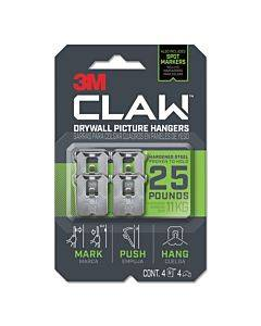 Claw Drywall Picture Hanger, Holds 25 Lbs, 4 Hooks And 4 Spot Markers, Stainless Steel