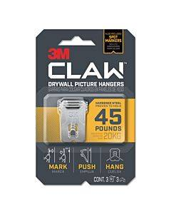 Claw Drywall Picture Hanger, Holds 45 Lbs, 3 Hooks And 3 Spot Markers, Stainless Steel