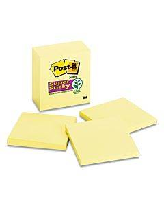 Canary Yellow Note Pads, 3 X 3, 90-sheet, 5/pack