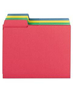 3-in-1 Supertab Section Folders, 1/3-cut Tabs, Left Position, Letter Size, Assorted, 12/pack
