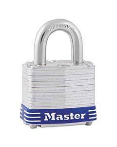 "Four-pin Tumbler Laminated Steel Lock, 2"" Wide, Silver/blue, Two Keys"