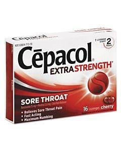Exta Strength Sore Throat Lozenge, Cherry, 16/box, 24 Boxes/carton