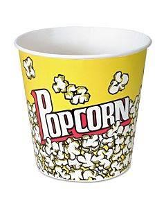 Paper Popcorn Bucket, 85 Oz, Popcorn Design, 15/pack