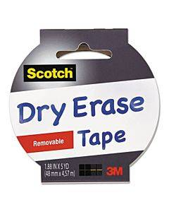 "Dry Erase Tape, 3"" Core, 1.88"" X 5 Yds, White"