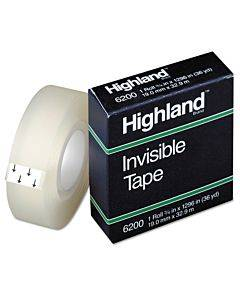 """Invisible Permanent Mending Tape, 1"""" Core, 0.75"""" X 36 Yds, Clear"""