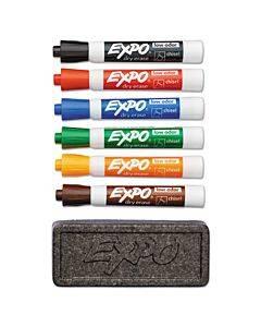Low-odor Dry Erase Marker & Organizer Kit, Broad Chisel Tip, Assorted Colors, 6/set