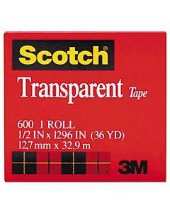 """Transparent Tape, 1"""" Core, 0.5"""" X 36 Yds, Transparent"""