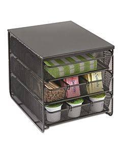 3 Drawer Hospitality Organizer, 7 Compartments, 11 1/2w X 8 1/4d X 8 1/4h, Bk