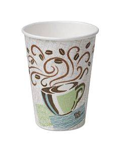 Perfectouch Paper Hot Cups, 12 Oz, Coffee Haze Design, 50/pack