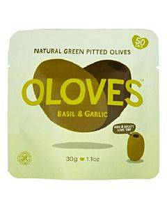 Oloves Green Pitted Olives - Basil And Garlic - Case Of 10 - 1.1 Oz.