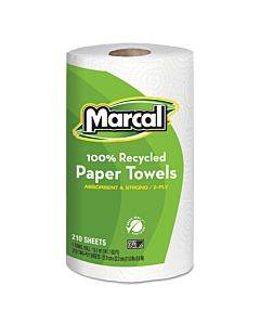 100% Recycled Roll Towels, 2-ply, 8.8 X 11, 210 Sheets, 12 Rolls/carton