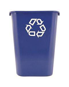 Large Deskside Recycle Container With Symbol, Rectangular, Plastic, 41.25 Qt, Blue