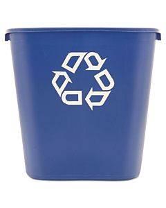 Medium Deskside Recycling Container, Rectangular, Plastic, 28.13 Qt, Blue