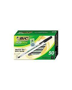 Ecolutions Round Stic Ballpoint Pen Value Pack, Stick, Medium 1 Mm, Black Ink, Clear Barrel, 50/packa