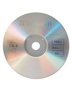 Cd-r Music Recordable Disc, 700mb, 40x, 25/pk