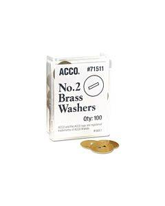"""Washers For Two-prong Fasteners, #2, 1.25"""" Diameter, Brass, 100/box"""