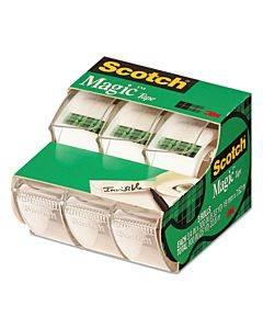 "Magic Tape In Handheld Dispenser, 1"" Core, 0.75"" X 25 Ft, Clear, 3/pack"