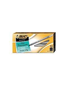 Round Stic Xtra Precision Stick Ballpoint Pen, 0.8 Mm, Black Ink, Smoke Barrel, Dozen