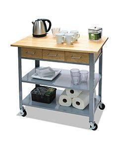 Countertop Serving Cart, 35.5w X 19.75d X 34.25h, Silver/brown