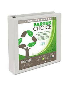"Earth's Choice Biobased Round Ring View Binder, 3 Rings, 1.5"" Capacity, 11 X 8.5, White"