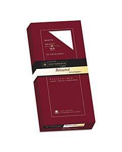 100% Cotton Resume Envelope, #10, Commercial Flap, Gummed Closure, 4.13 X 9.5, White, 50/box