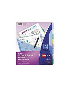Write And Erase Durable Plastic Dividers With Pocket, 3-hold Punched, 8-tab, 11.13 X 9.25, Assorted, 1 Set