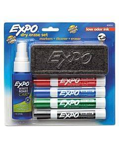 Low-odor Dry Erase Marker Starter Set, Broad Chisel Tip, Assorted Colors, 4/set