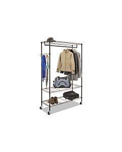 Wire Shelving Garment Rack, Coat Rack, Stand Alone Rack, Black Steel W/casters